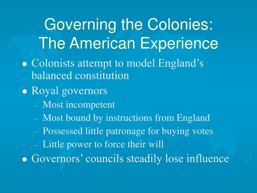 Governing the Colonies: