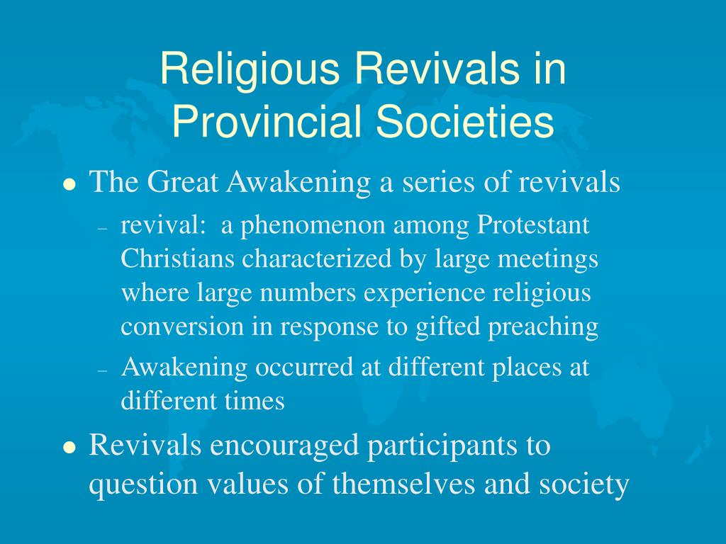 Religious Revivals in Provincial Societies