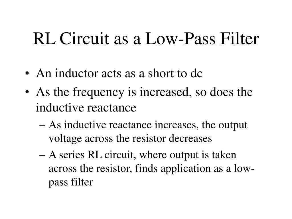 RL Circuit as a Low-Pass Filter