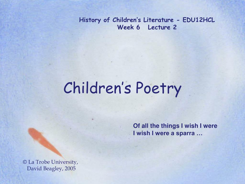 History of Children's Literature - EDU12HCL