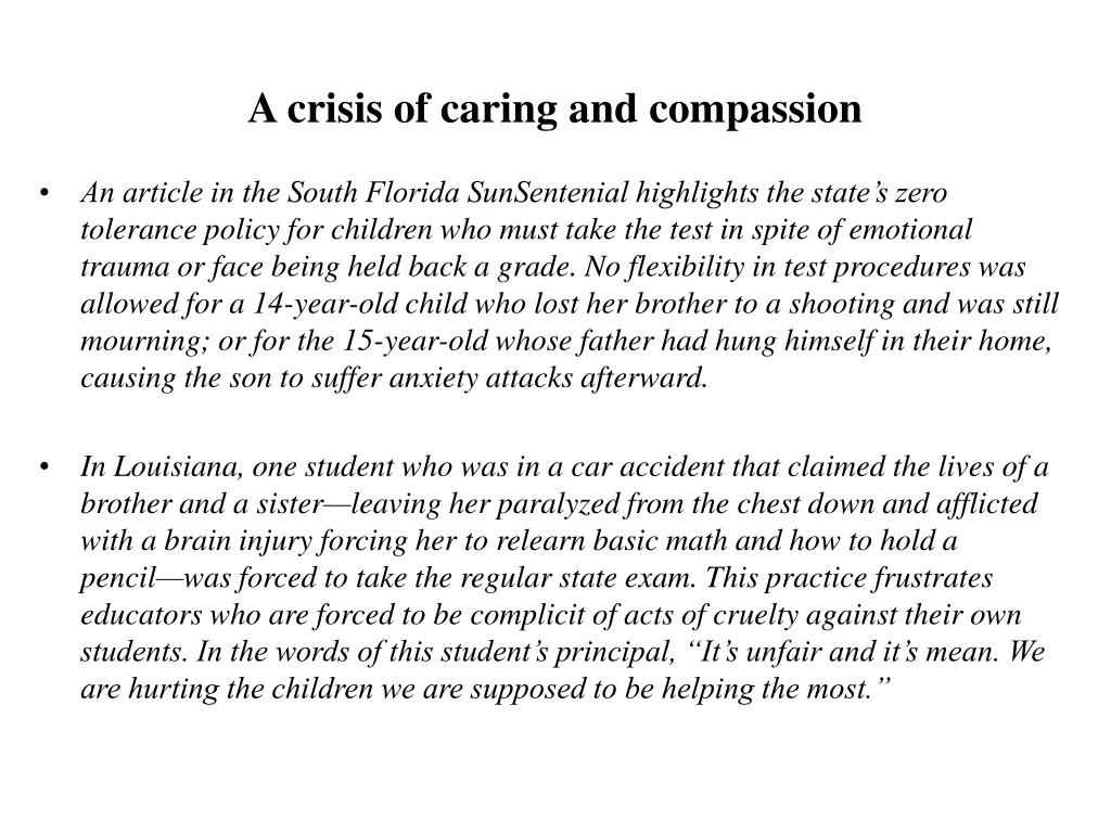 A crisis of caring and compassion