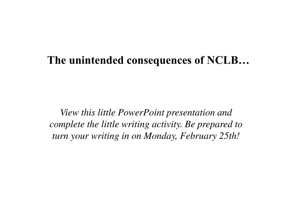 The unintended consequences of NCLB…