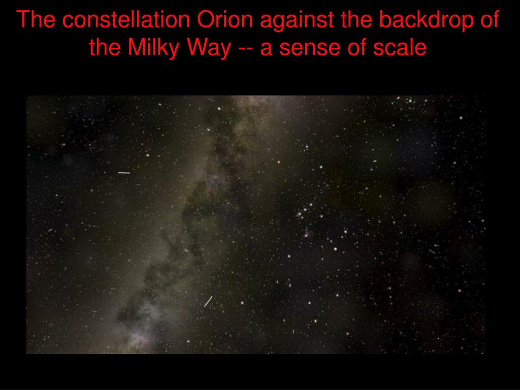 The constellation Orion against the backdrop of the Milky Way -- a sense of scale