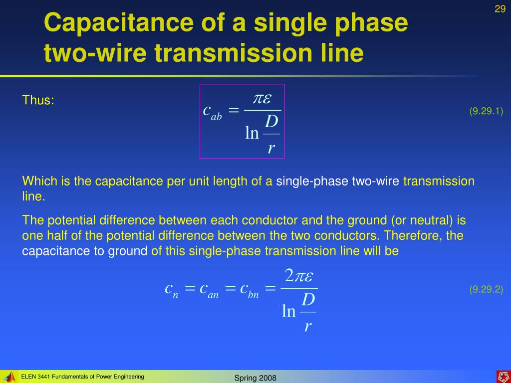 Capacitance of a single phase two-wire transmission line