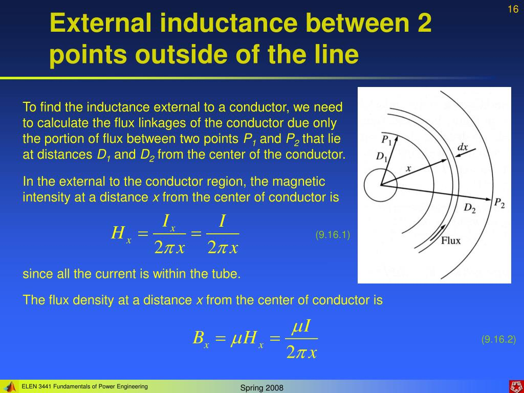 External inductance between 2 points outside of the line