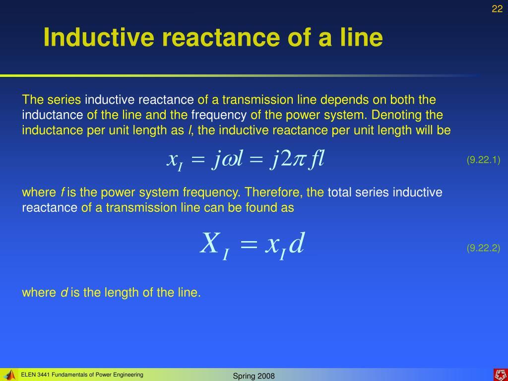 Inductive reactance of a line