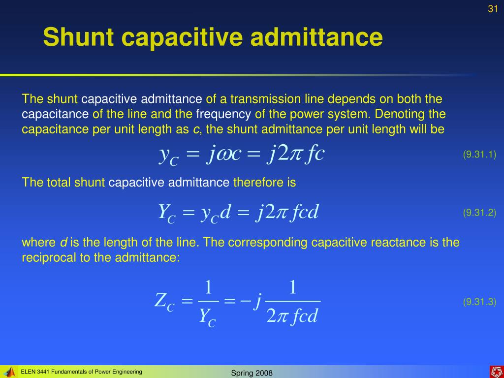 Shunt capacitive admittance