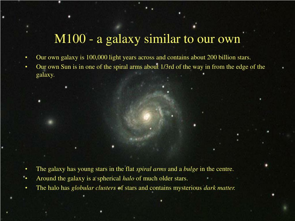 Our own galaxy is 100,000 light years across and contains about 200 billion stars.