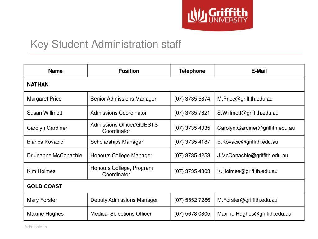 Key Student Administration staff