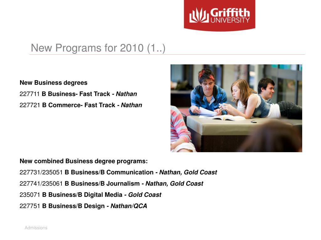 New Programs for 2010 (1..)