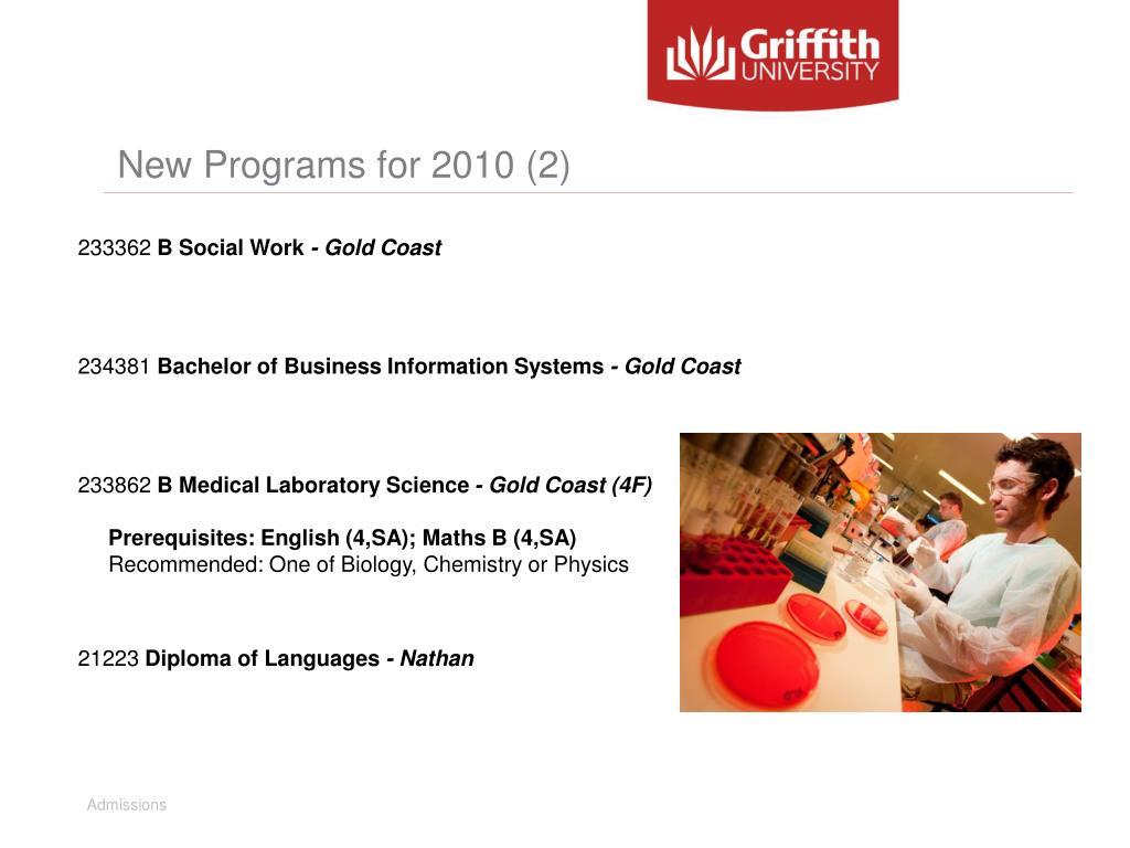 New Programs for 2010 (2)