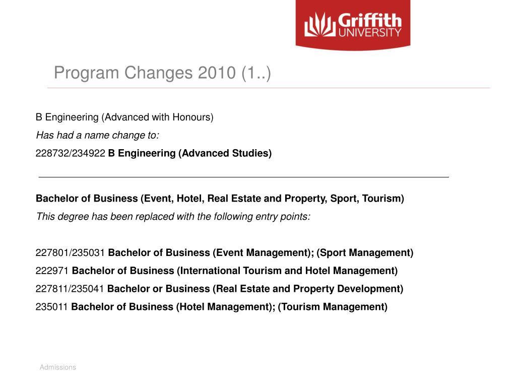 Program Changes 2010 (1..)