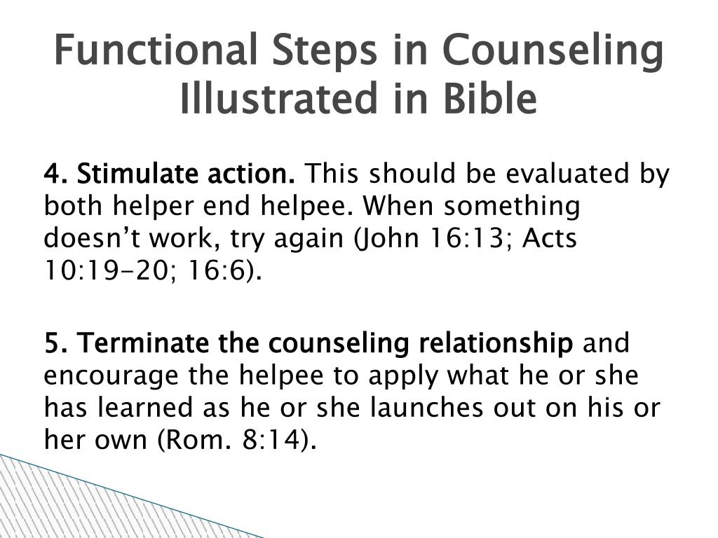 Functional Steps in Counseling Illustrated in Bible