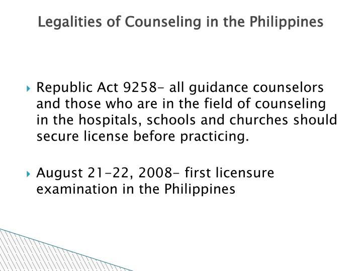 Legalities of counseling in the philippines