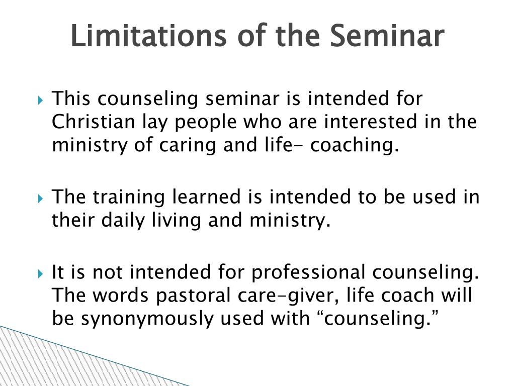 Limitations of the Seminar