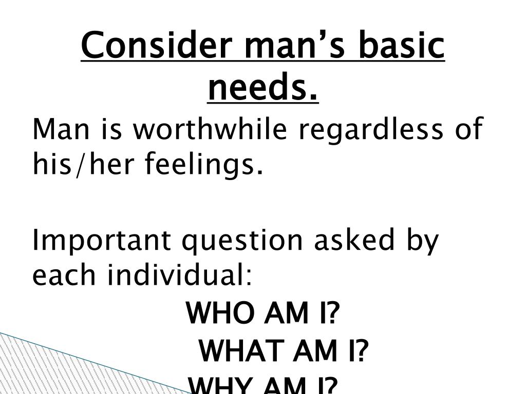 Consider man's basic needs.