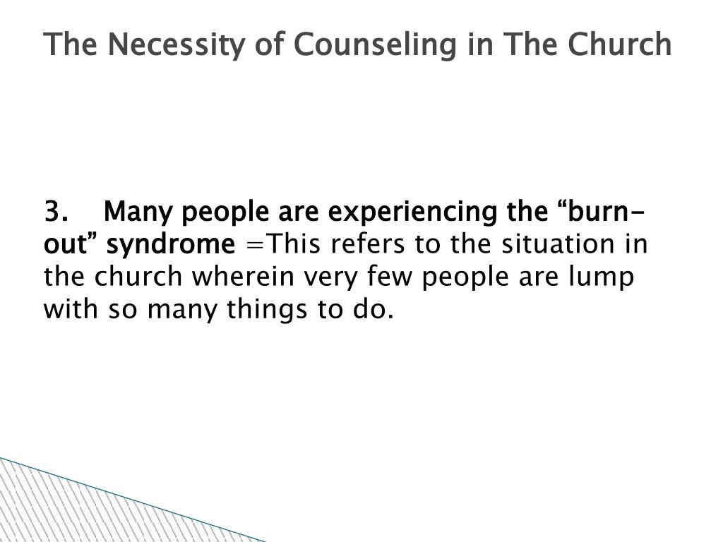 The Necessity of Counseling in The Church