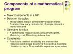 components of a mathematical program