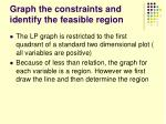 graph the constraints and identify the feasible region