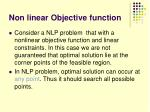 non linear objective function