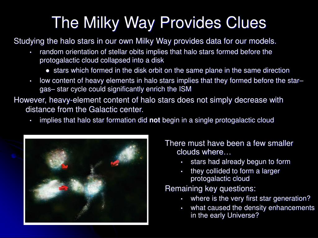 Studying the halo stars in our own Milky Way provides data for our models.
