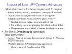 impact of late 19 th century advances