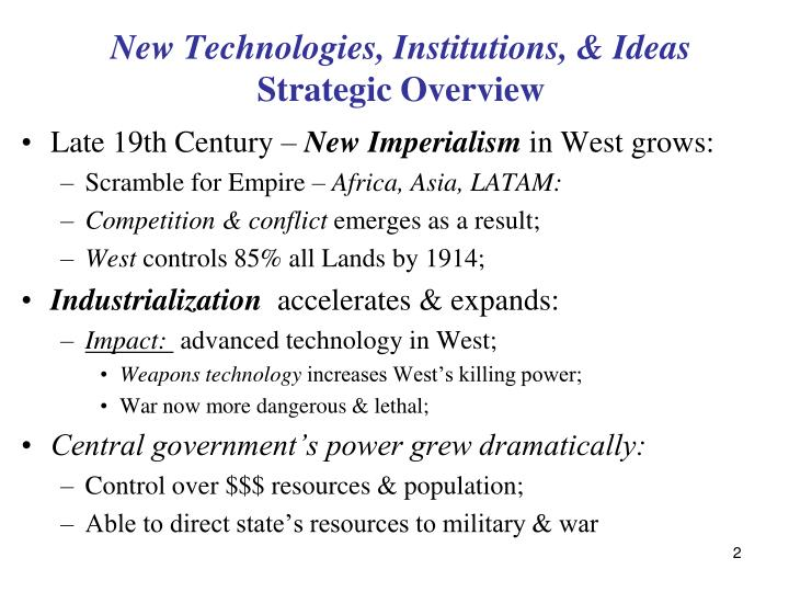 New technologies institutions ideas strategic overview