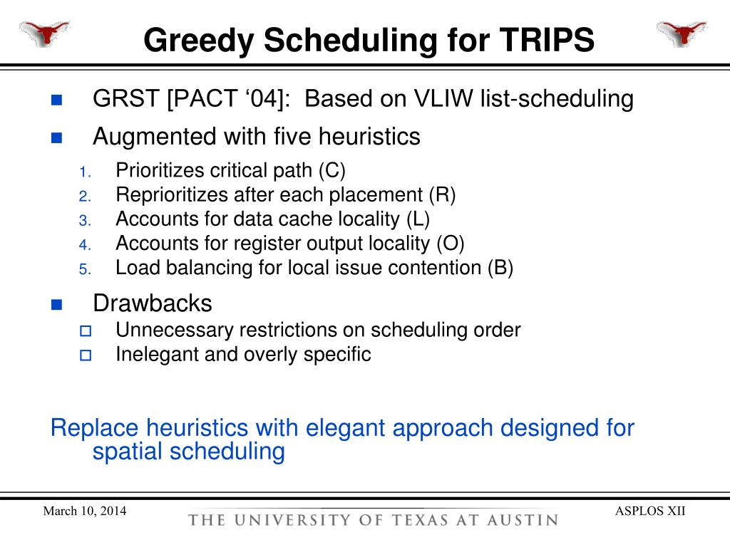 Greedy Scheduling for TRIPS