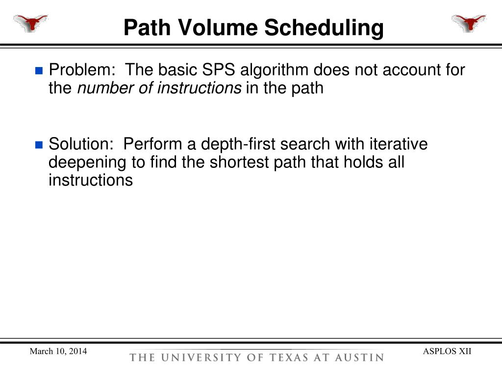Path Volume Scheduling