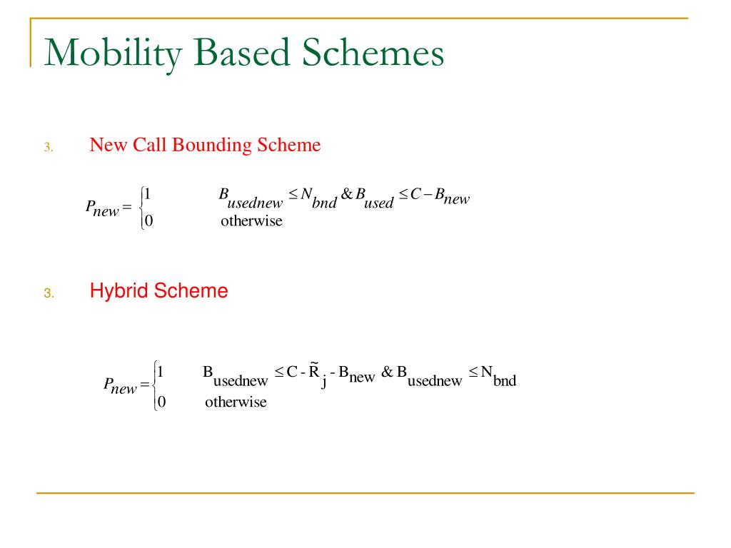 Mobility Based Schemes