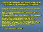 statements for the purposes of medical diagnosis or treatment exception