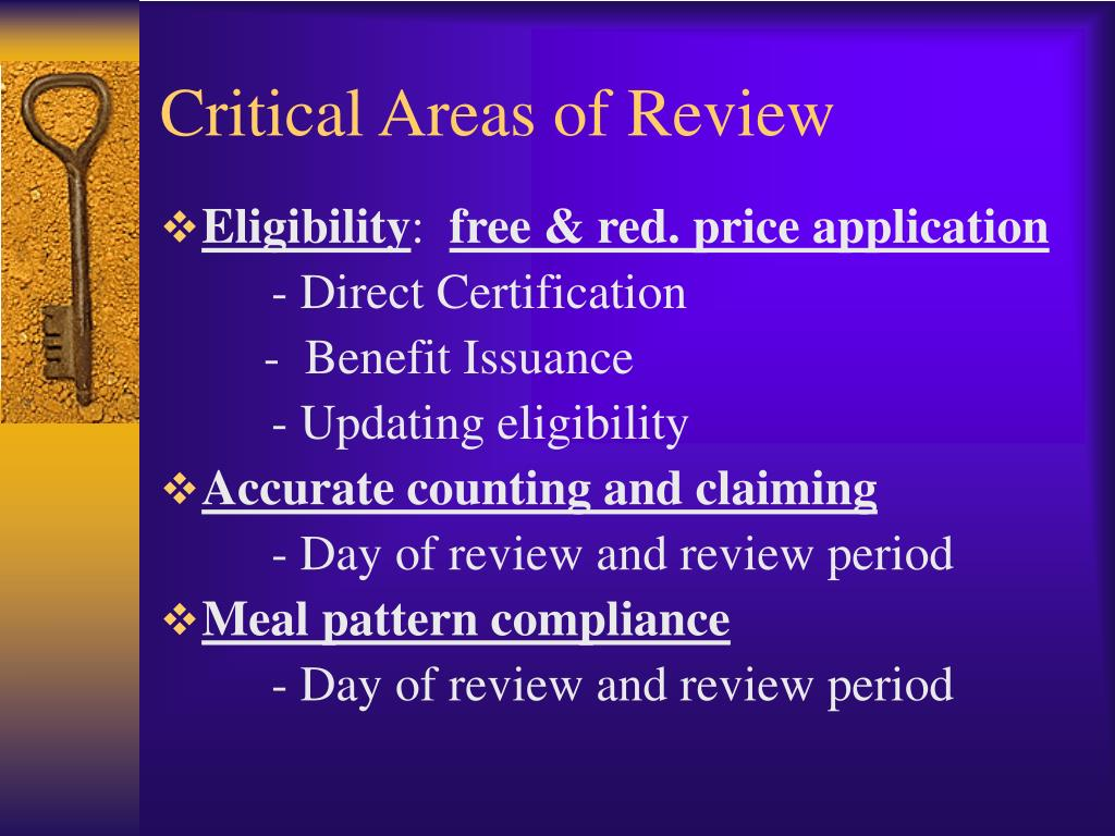 Critical Areas of Review