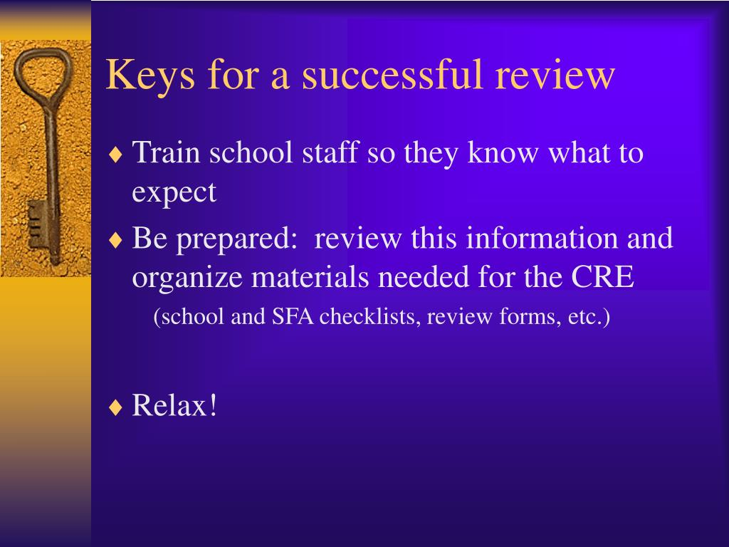 Keys for a successful review