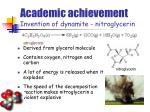 academic achievement invention of dynamite nitroglycerin