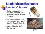 academic achievement invention of dynamite