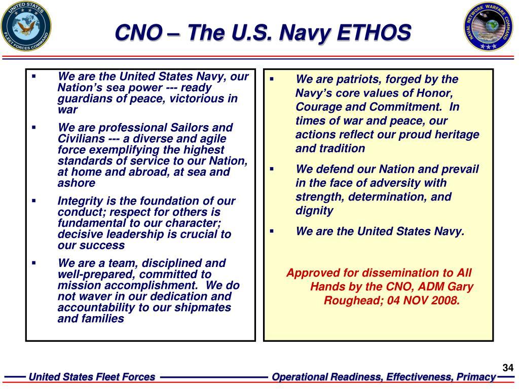 CNO – The U.S. Navy ETHOS