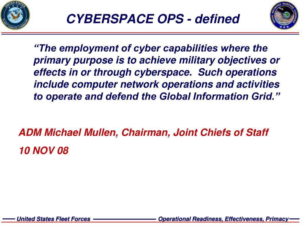CYBERSPACE OPS - defined