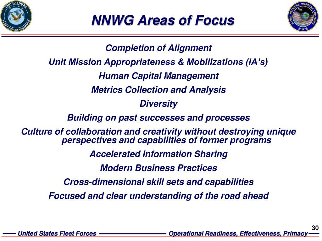 NNWG Areas of Focus