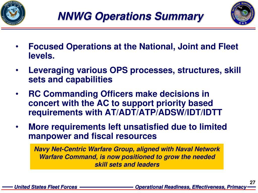 NNWG Operations Summary