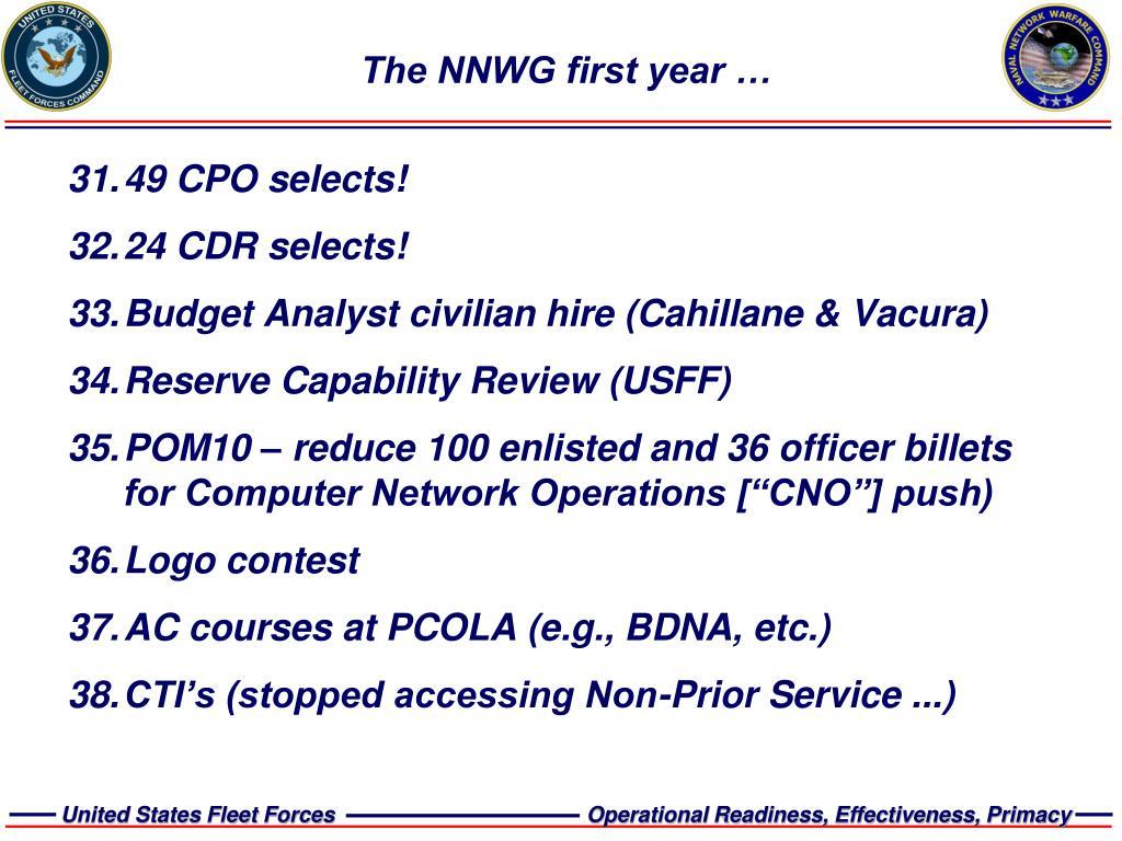 The NNWG first year …