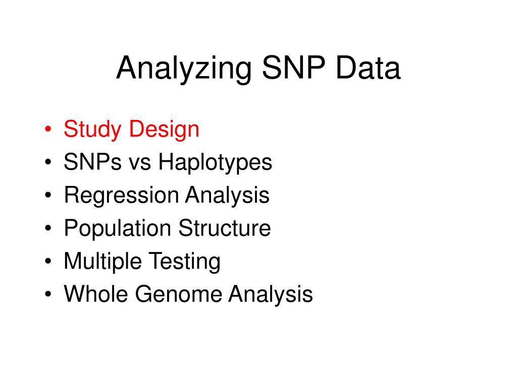 Analyzing SNP Data