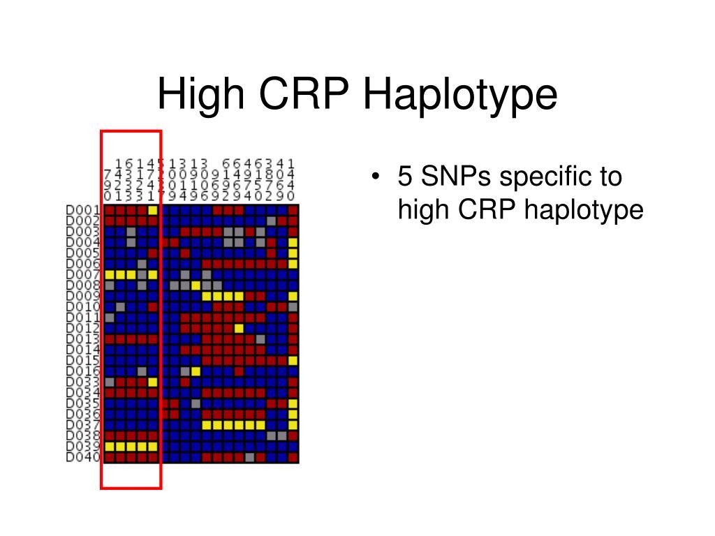 5 SNPs specific to high CRP haplotype