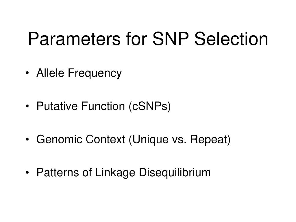 Parameters for SNP Selection