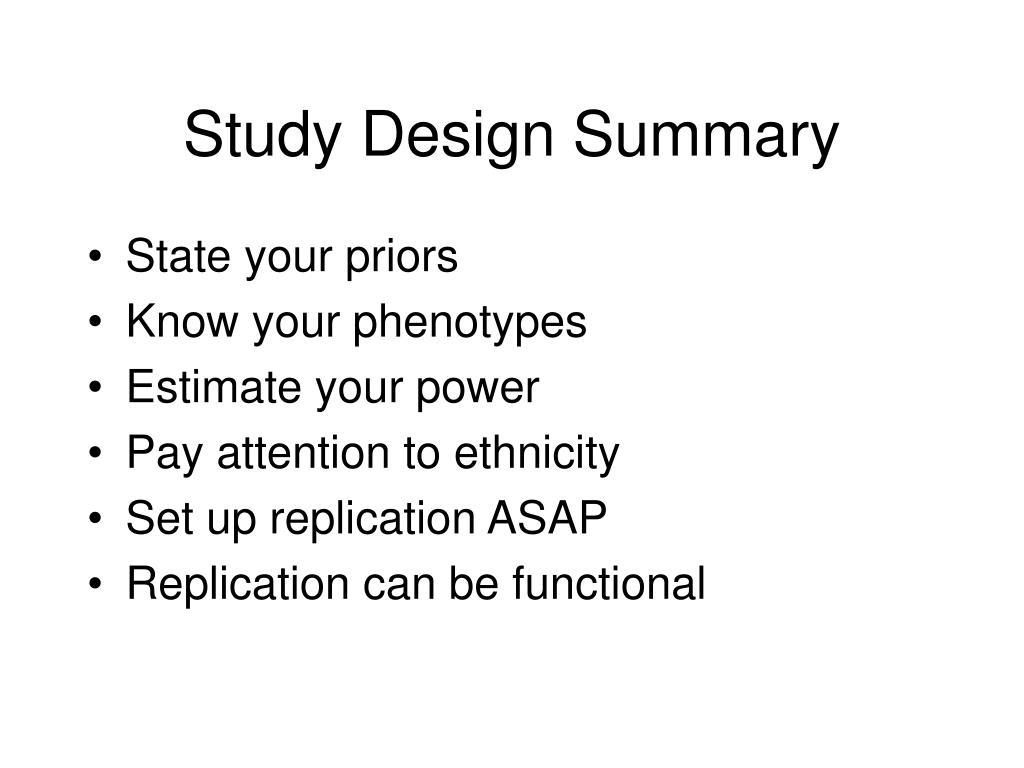 Study Design Summary