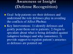 awareness or insight defense recognition