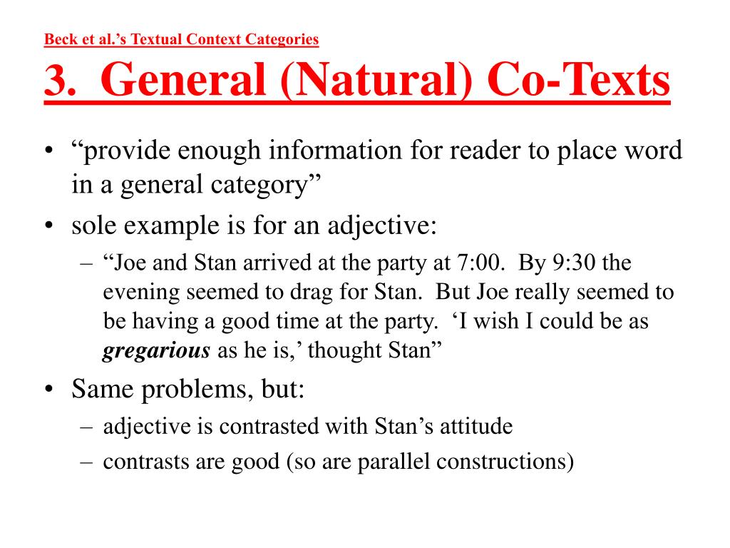 Beck et al.'s Textual Context Categories