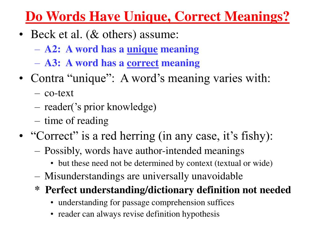 Do Words Have Unique, Correct Meanings?
