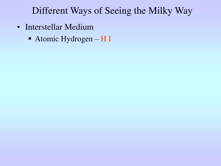 Different Ways of Seeing the Milky Way