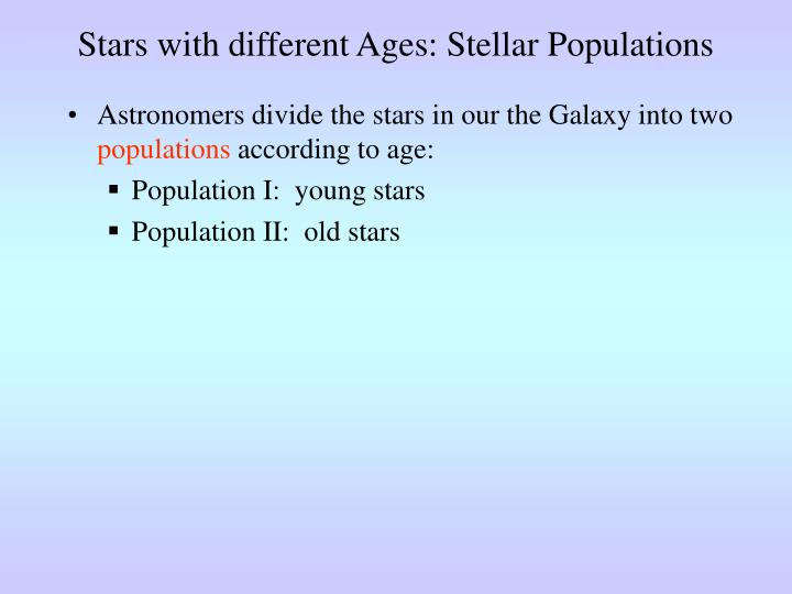 Stars with different Ages: Stellar Populations