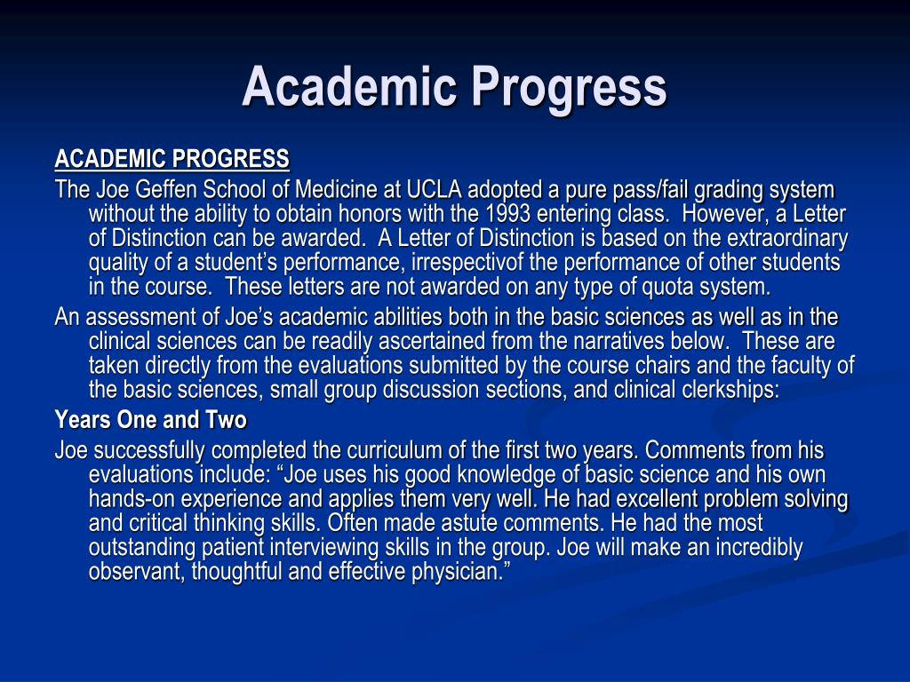 Academic Progress